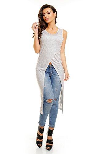 Mujer Manga Larga Camisa túnica Tanktop Camiseta XS S M L XL Color Tamaño gris
