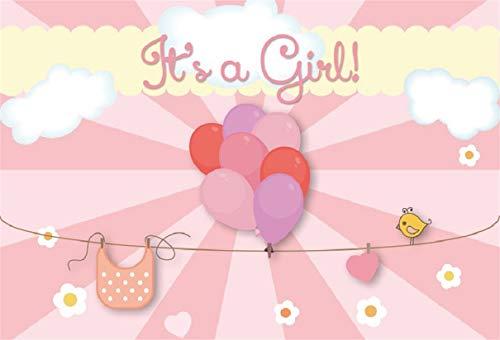 Leyiyi 7x5ft Baby Shower Backdrop It's a Girl Pink Striped Banner Ballons String Line Bib Heart Shape Bird Cloud Flowers Decor Photo Backgroud Gender Reveal Newborn Portrait Shoot Vinyl Studio Prop