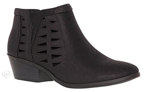 MVE Shoes Women's Ankle Booties - Perforated Cut Out Stacked Block Heel - Comfy Booties for All Season, Chance Black nbpu 10