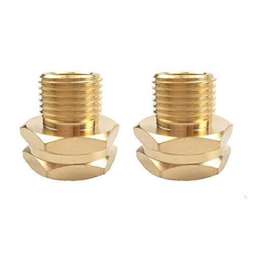 Hanobo 2 Pack Brass Garden Hose Connector, GHT to NPT Hose Fitting, 3/4