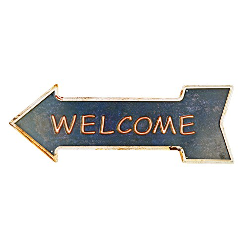 al Tin Signs With Rustic Retro Arrow Decorative Sings For Cafe Pub 16.9x6 inches (Sing Plaque)