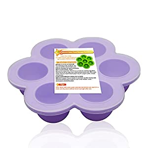 Best Homemade Baby Food Storage Container Freezer Trays - Reusable Food Container Silicon Tray With Clip on Lid Silicone Baby Food Storage Containers Kids Food Plate, Purple
