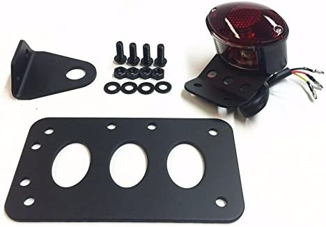 Black Horizontal Side Mount License Plate Bracket with Red Tail Light Fits Most custom Applications Harley Metric Bikes Choppers