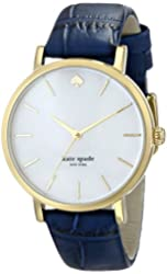 """kate spade new york Women's 1YRU0537 """"Metro"""" Gold-Plated Watch with Blue Leather Band"""