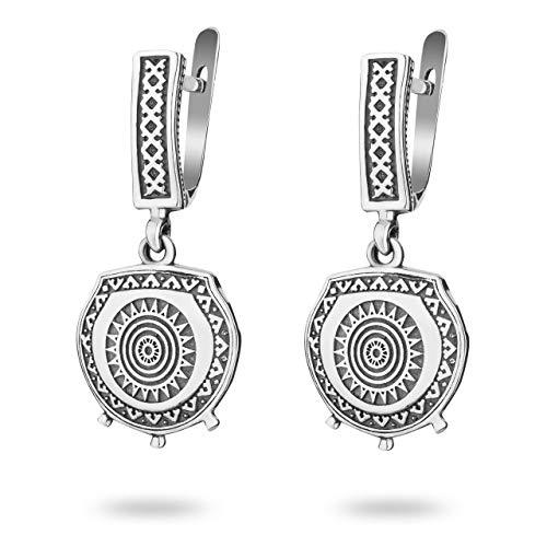 Mayan Sun Dangle Earrings Sterling Silver Aztec Calendar Inca Mexican Jewelry Native American Tribal Style Gift for Women Handmade