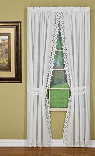 Today's Curtain Heirloom Eyelet Embroidered Cutwork Battenberg Style Window Collection (Ecru, 80W x 63L Panel Pair with Tiebacks)
