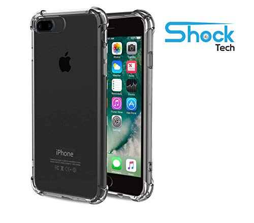 Shock Tech iPhone 8 Plus/iPhone 7 Plus Clear Slim Case Shockproof Flexible Thin Soft Gel Absorbing Transparent Silicone TPU Bumper Rubber Back Protective Cover