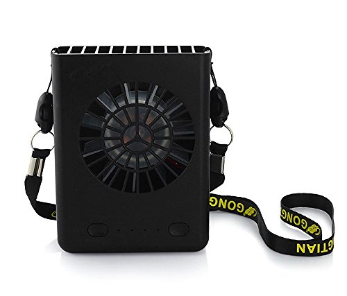 Powshop Portable Necklace Multi-functional Rechargeable Mini Fan 3 Speeds Personal Cooling Fan with 18650 Li-ion Battery & USB Charging & String for Outdoors/Travel/Office (Black)
