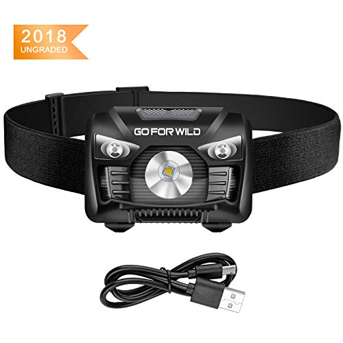 Price comparison product image Rechargeable Headlamp,  500 Lumens White Cree LED Head lamp with Red light and Motion Sensor Switch,  Perfect for Running,  Hiking,  Lightweight,  Waterproof,  Adjustable Headband,  5 Display Modes