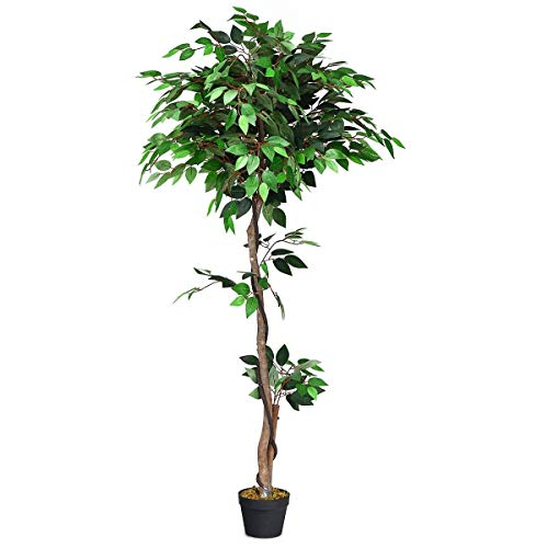SAFEPLUS Artificial Ficus Tree with Green Leaf for Indoor Outdoor(5.5ft)