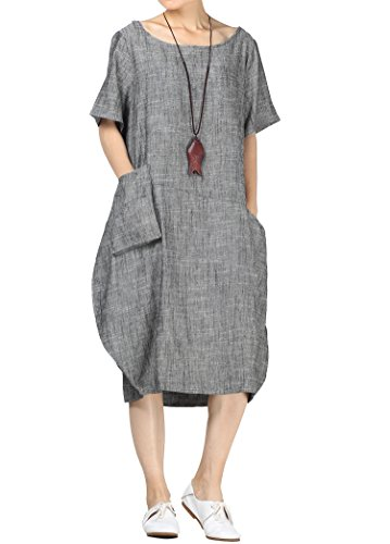 Mordenmiss Women's Cotton Linen Dresses Short Sleeve Baggy Loose Summer Clothing w/Hi-Low Pockets 2XL Black - Jersey Tulip Dress