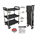 Olympia Tools 85-188 3 Shelf Collapsible Service Cart -Heavy Duty -Each Shelf Supports up to 50 lbs-Foldable Design for Easy Storage and Mobile Transport