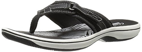 CLARKS Women's Breeze Sea Flip Flop, New Black Synthetic, 8 M US by CLARKS (Image #7)