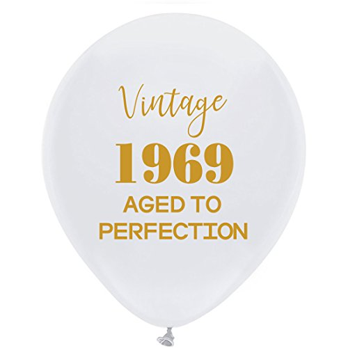 (White Vintage 1969 Balloons - 12inch (16pcs) Men and Women Gold 50th Birthday Party Decorations or Supplies)