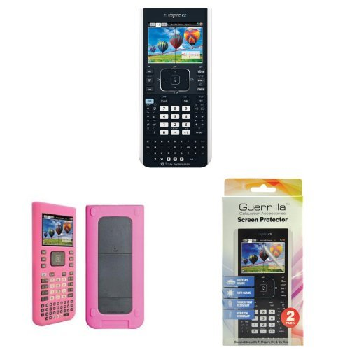 Texas Instruments TI-Nspire CX Graphing Calculator With Guerrilla Protective Silicone Case (Pink) And Military Grade Screen Protector Set. - Ti Nspire Screen