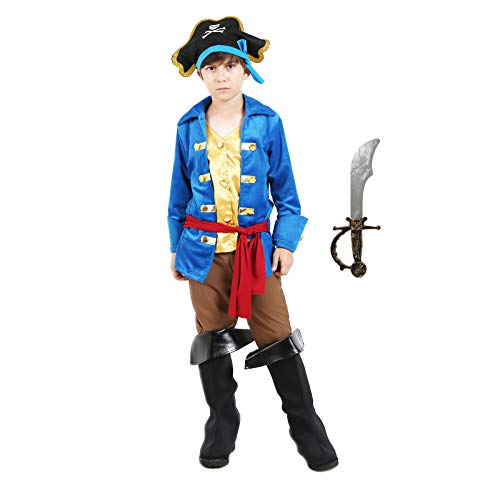 Boys Pirate Costume Halloween Kids Deluxe Costume Set (Captain 4-6 -