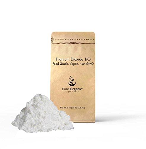 100% Pure Titanium Dioxide - Titanium Dioxide (8 oz 0.5 lb) TiO2, non-nano, Food grade, Vegan, Non-GMO, Eco-Friendly Packaging (Also in 4 oz, 16 oz, 24 oz, & 5o lb)