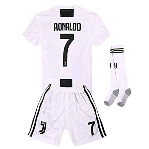 detailed look 552a4 65cca Newkidsjs Juventus #7 Ronaldo Kids and Youth Soccer Jersey & Shorts & Socks  2018-2019 Home White/Black 7-8Years/Size 22