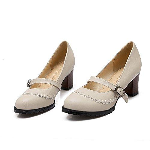 AllhqFashion Damen Ziehen auf Rund Zehe Mittler Absatz Weiches Material Rein Pumps Schuhe Cremefarben