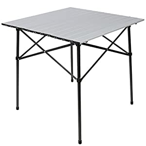 PORTAL Ultra Light Aluminum Folding Square Table Roll Up Top For Outdoor Camping