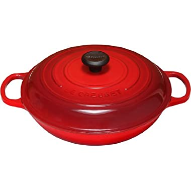 Le Creuset Signature Enameled Cast-Iron 5-Quart Round Braiser, Cerise (Cherry Red)