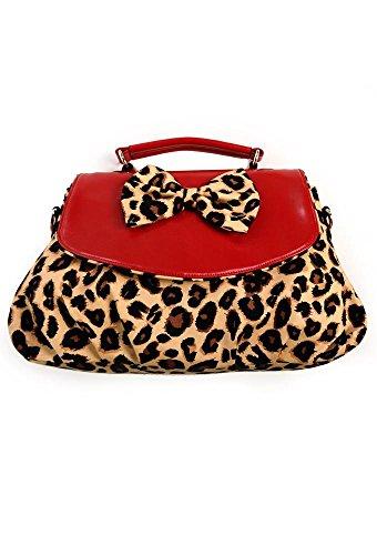 Red Leopard Bow-Borsa a tracolla da Banned