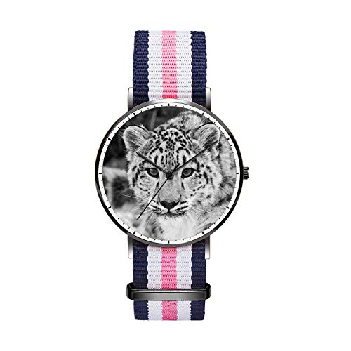 Unique Wrist Watch, Wild Leopard Personalized Oxford Creative Multicolor Watch Strap Modern Watch,Unisex Minimalist Stainless Steel Ultra Thin Stripe Fashion Watches for Men 40mm