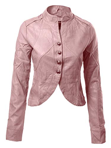 Design by Olivia Women's Long Sleeve Faux Leather Jacket Cropped Crop Top Pale Pink L ()