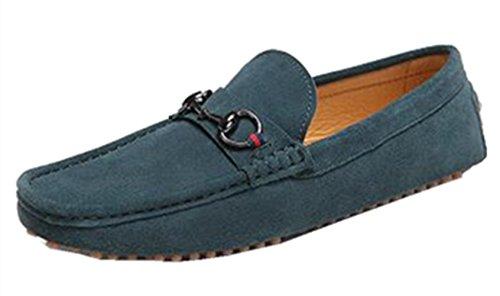 Happyshop Äkta Mens Läder Slip-on Loafers Bilkörning Skor Mockasiner Mörkgröna