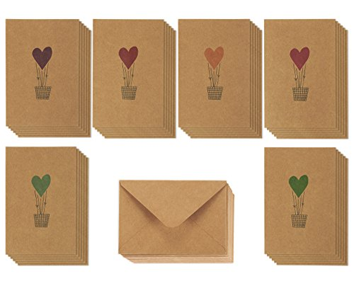 36 Pack Valentine Cards - Romantic Greeting Cards, Love Cards - Brown Kraft Paper Greeting Cards - 6 Colorful Heart Air Balloon Designs, Kraft Paper Envelopes Included - 4 x 6 - Craft Cards Envelopes
