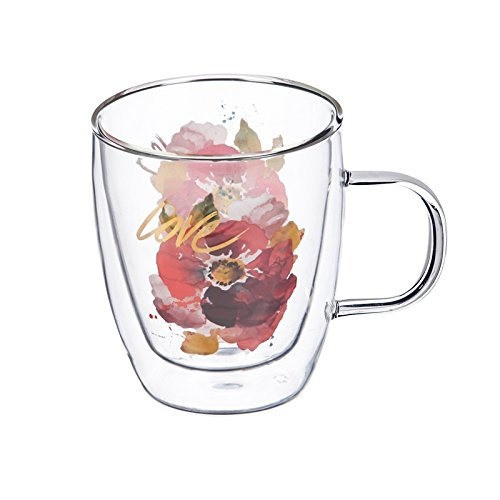 Cypress Home Love Flower Double Wall Glass Cafe Cup, 12 OZ