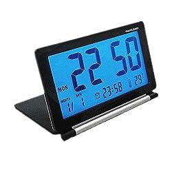KLAREN Travel Clock,Multifunctional Silent LCD Mini Digital Desk Folding Electronic Alarm with Soft Blue Backlight Black