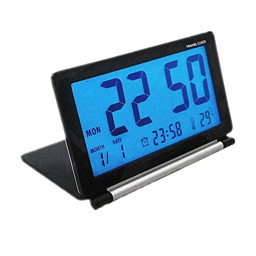 KLAREN Travel Clock,Multifunctional Silent LCD Mini Digital Desk Folding Electronic Alarm with Soft Blue Backlight Black Black Folding Clock