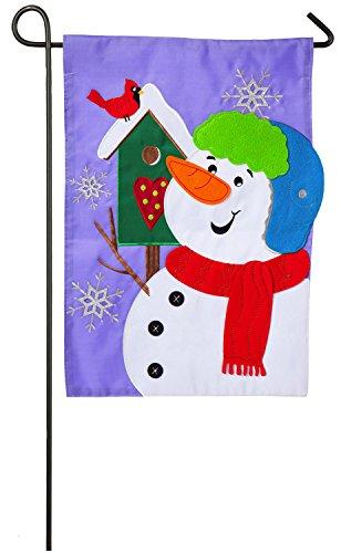 Evergreen Snowman and Friend Applique Garden Flag, 12.5 x 18 inches