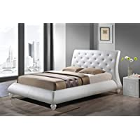 Baxton Studio Metropolitan White Faux Leather Contemporary Platform Bed, King