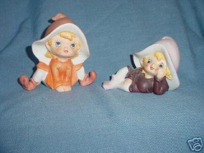 Pair Porcelain Homco Pixie Figurines