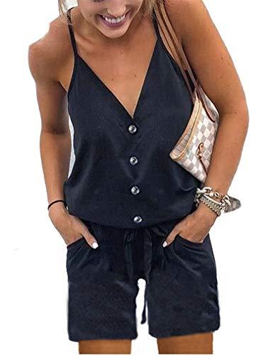 f514886fa Naggoo Womens Black Romper Button Front Shorts Summer Casual V-Neck Short  Elastic Waist Jumpsuit