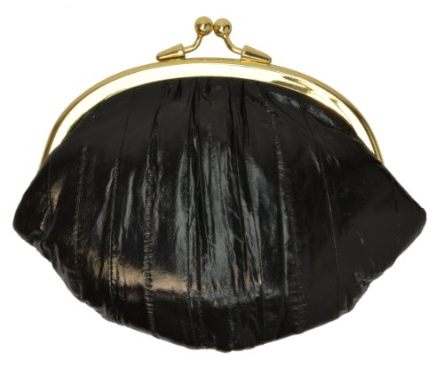 EEL SKIN COIN PURSE EELSKIN CHANGE WALLET LARGE DOUBLE (Black) -