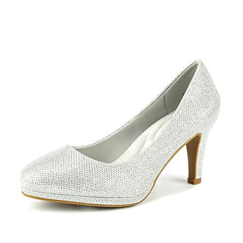 DREAM PAIRS Women's City_CT Silver GLIT New Classic Elegant Low Kitten Heel Party Dress Pumps Shoes Size 8.5 B(M) US