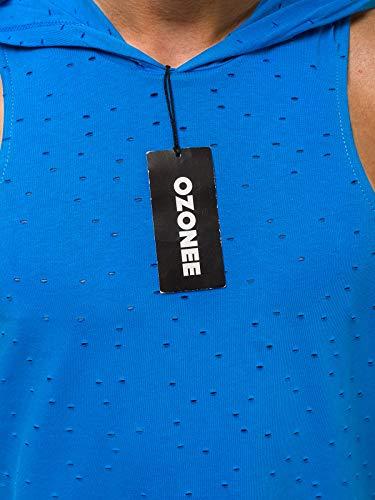 Serbatoio 777 Canotta Mix Fitness 2537 Blu 706bo Ozonee T Uomo Maniche Ozonee Top Senza shirt Canottiera Mad Tankshirt Cappuccio wqFITfSS