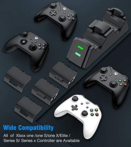 Rechargeable Battery Pack with Controller Charger for Xbox One& Series Controller Charger Kit, Controller Charger Station for Xbox One/One S/One X/One Elite/Series X|S, 2X 1200mAh Xbox Battery Pack 41 ED6RYIIL