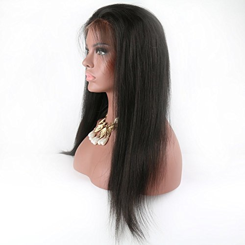 Eayon Hair 6A Virgin Hair Glueless Human Hair Full Lace Wigs Brazilian Silky Straight Hair Lace Wig with Baby Hair for Women 130% Density Natural Color 18 inch by Eayon Hair (Image #2)