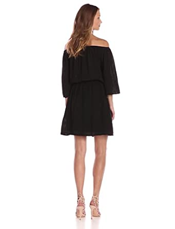 Michael Stars Womens Double Gauze Off-The-Shoulder Dress