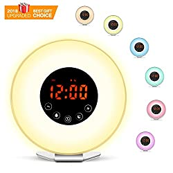 Wake Up Light Smarlance Sunrise Alarm Clock, Nature Night Light,7 Switch Colors Atmosphere Lamp, Nature Sounds FM Radio,Morning Wake-Up Alarm Clock With Snooze Function For Heavy Sleepers