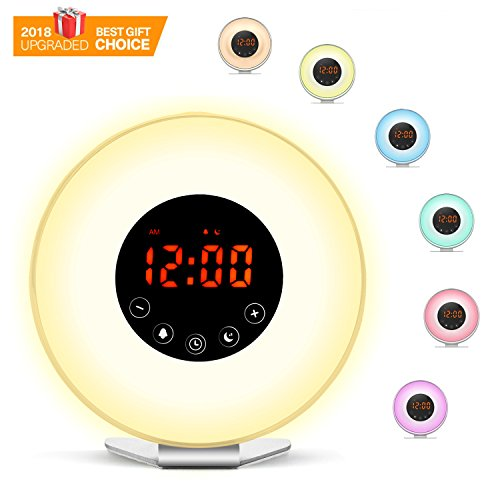 Wake Up Light Alarm Clock, Smarlance [2018 UPGRADED] Sunrise Sunset Simulation with 6 Nature Sounds, FM Radio, 7 Colors Night Light Clock, Snooze Function for Heavy Sleepers