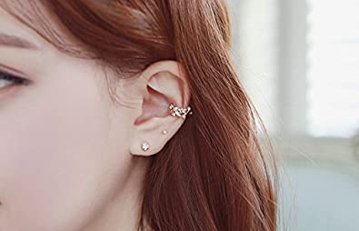 Orris Crystal Mounted Flower And Vine Style Ear Cuff Set Earrings