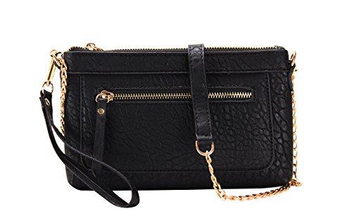 Front Zipper Pocket Clutch Crossbody Bag (BLACK) by MMS Design Studio