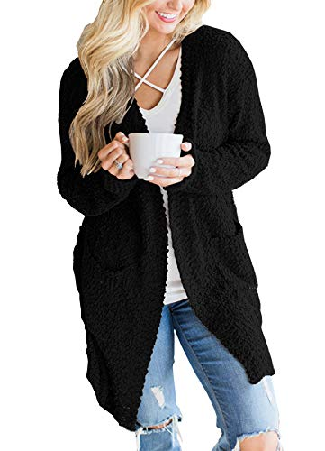 Ru Sweet Women's Long Sleeve Soft Chunky Knit Sweater Open Front Cardigan Outwear with Pockets Black ()
