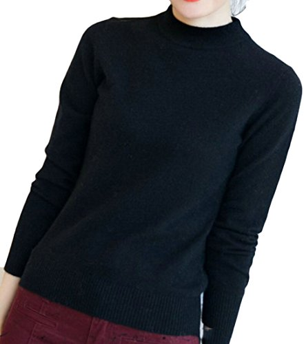 Fashion Turtle Pullover Half Women's M amp;W Knit Soft Sweater Black Neck amp;S q0xaZ0YBwI