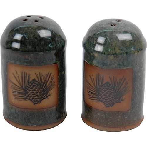 (4 Inch tall Pinecone Salt and Pepper Shakers in Seamist glaze)